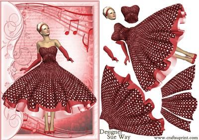 1950 s Rock and Roll Lady in Red Decoupage on Craftsuprint designed by Sue Way - A pretty lady in a 1950's style dress, with a flared skirt