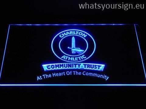 Charlton Athletic FC Community Trust - LED neon sign made of the best-quality transparent plastic and glowing colorful LED lighting. The neon sign displays exactly the same from every angle thanks to the carving with the newest 3D laser engraving process. This LED neon sign is a great gift idea! The neon is provided with a metal chain for displaying. Available in 3 sizes in following colours: Blue, Yellow, Red, Green, Purple, Orange and White!