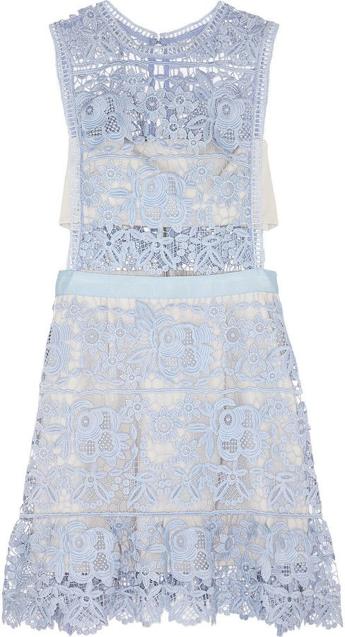 This dress is perfection! Truly a piece of beauty. #ShopLu Self-Portrait Guipure Lace Mini Dress