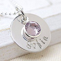 Birthstone Necklace Personalized Handmade Sterling Silver Name - Mother's Day Necklace, Kid's Names Jewelry - Mother's Day Gift
