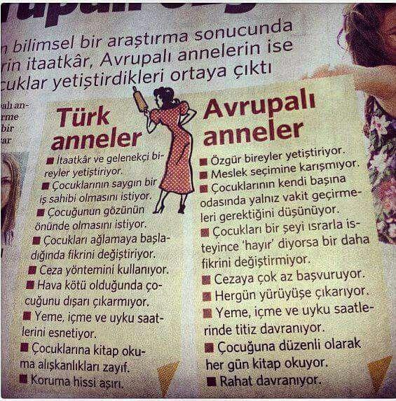Türk anneler vs Avrupalı anneler