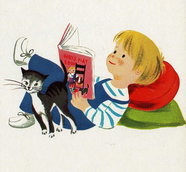 Vintage children's book illustration - boy and cat reading