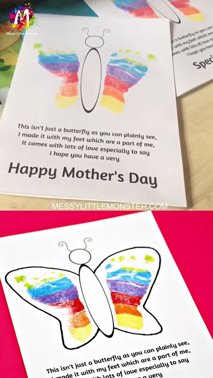 photo about Free Printable Mothers Day Crafts named Footprint Butterfly Poem - Printable Moms Working day Card