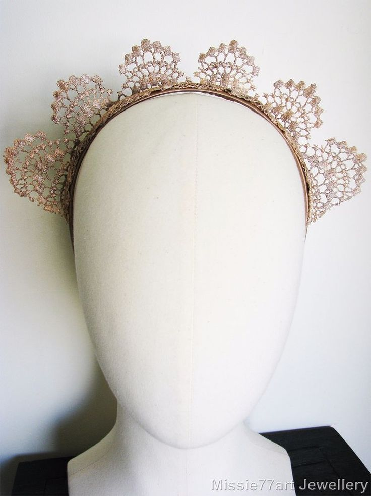 Monarch Rose Gold Fascinator Lace Crown Horse Racing Headpiece