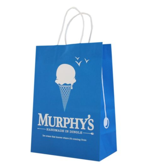 Cost effective, one colour print paper bag with twisted handles. #packaging #branded # costeffective