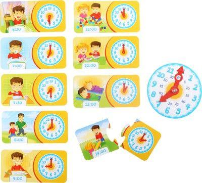 """Mit dem kleinen Entdecker auf Entdeckungsreise gehen. Die Reise führt durch die bunte Welt der Lernspiele. Beim Lernspiel """"Die Uhr"""" weiß jedes Kind nach einiger Zeit die richtige Uhrzeit zu verstehen und hat Freude die Uhr lesen. Puzzle: ca. 17 x 8 x 0,5 cmZiffernblatt: ca. 14 x 14 x 0,5 cmWarnhinweiseACHTUNG! Nicht für Kinder unter 3 Jahren geeignet. Kleine Teile. Erstickungsgefahr. Bitte bewahren Sie diesen Hinweis für eine eventuelle Korrespondenz auf."""
