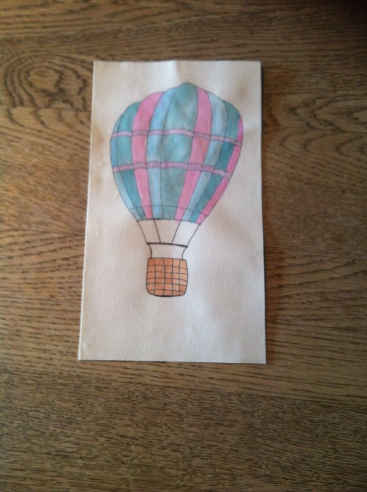 Luftballon med vandfarver - airbaloon with watercolor