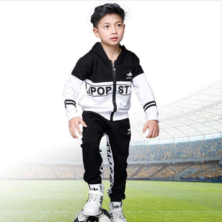Boys Suits 2017 New Autumn Color Patchwork Hooded Letter Zipper for Kid School Uniform Casual Sport Style Children's Sets Qcs030 #Affiliate