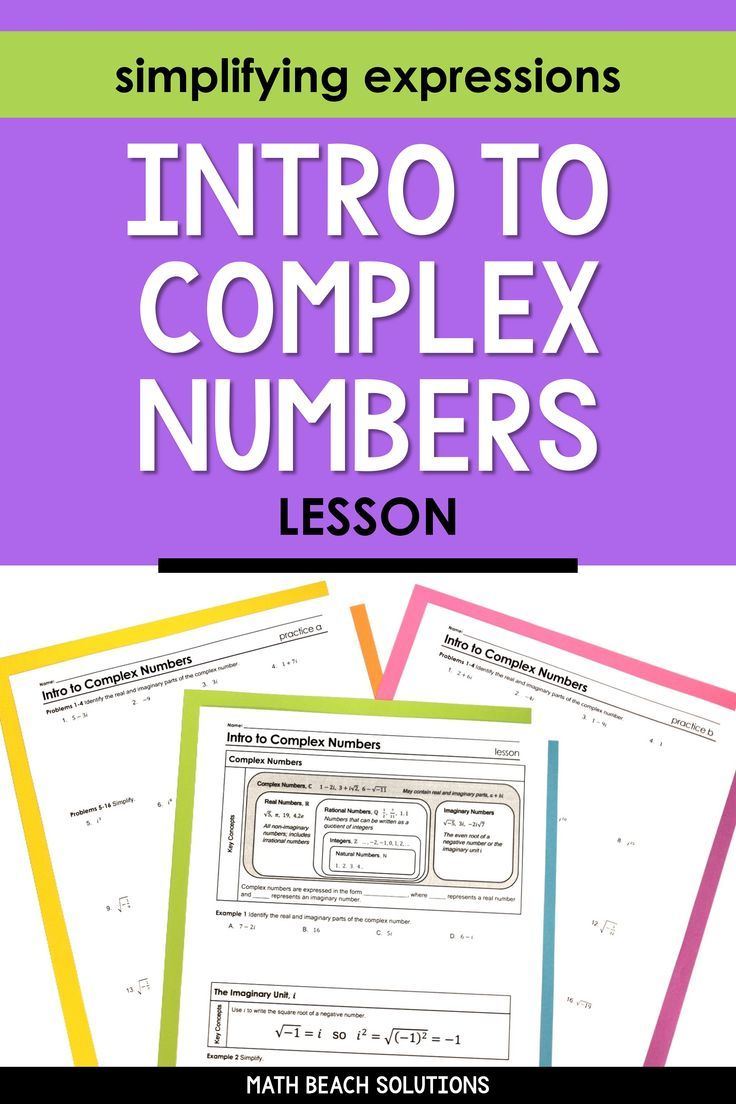 Intro To Complex Numbers Lesson Algebra Lesson Plans Simplifying Expressions Complex Numbers