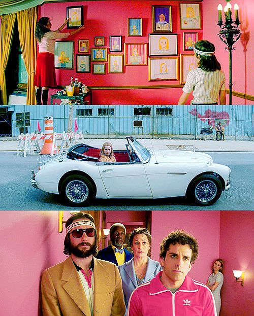 I love the colors used by Wes Anderson in this movie (The Royal Tenenbaums). I also like this picture wall.