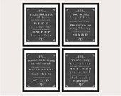 Dave Matthews Set of Four Love Song Lyrics Chalk Typography Print Art