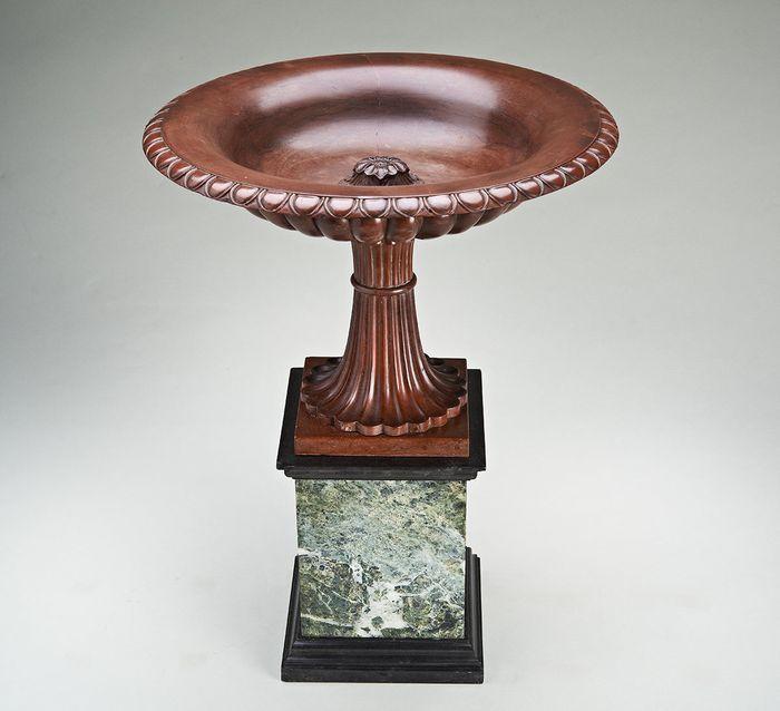 """Fine Grand Tour Rosso Antico Marble Tazza  on a verde antico marble base, attributed to Benedetto Boschetti. The Bowl of the Tazza restored. Rome Circa 1830 H: 15""""--38cm W: 11.75""""--30cm 5500"""