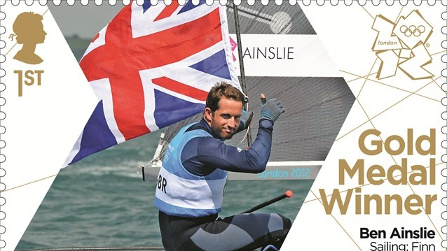 Royal Mail has issued a gold medal stamp to celebrate Ben Ainslie's victory in the men's Sailing Finn class at Weymouth and Portland on Day 9 of the Games