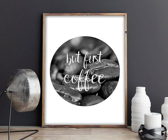 70% OFF SALE / But first coffee / Black and White by NeedForPrint