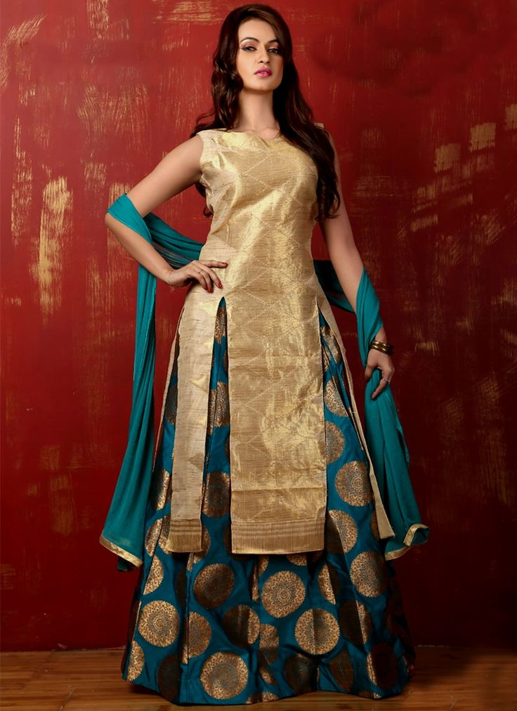 Browse our collection of lehenga choli online and grab it at the best price. Shop now! This innovative art silk weaving work long choli lehenga.