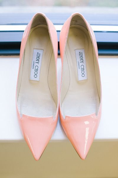 Peach Jimmy Choos | Matt and Julie #jimmychooheelswedding