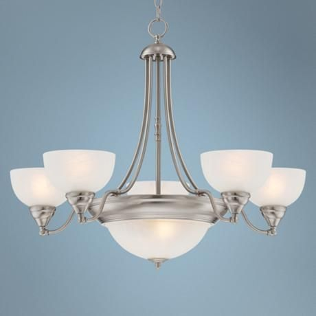 Conroy white marble 28 wide 7 light steel chandelier