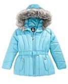 S. Rothschild Foil-Dot Belted Puffer Jacket with Faux-Fur Trim, Toddler Girls - Coats & Jackets - Kids & Baby - Macy's