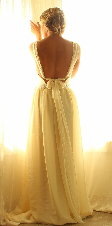 My Malorie- Bohemian Tie Back Chiffon Wedding Gown Sample Small. $650.00, via Etsy.