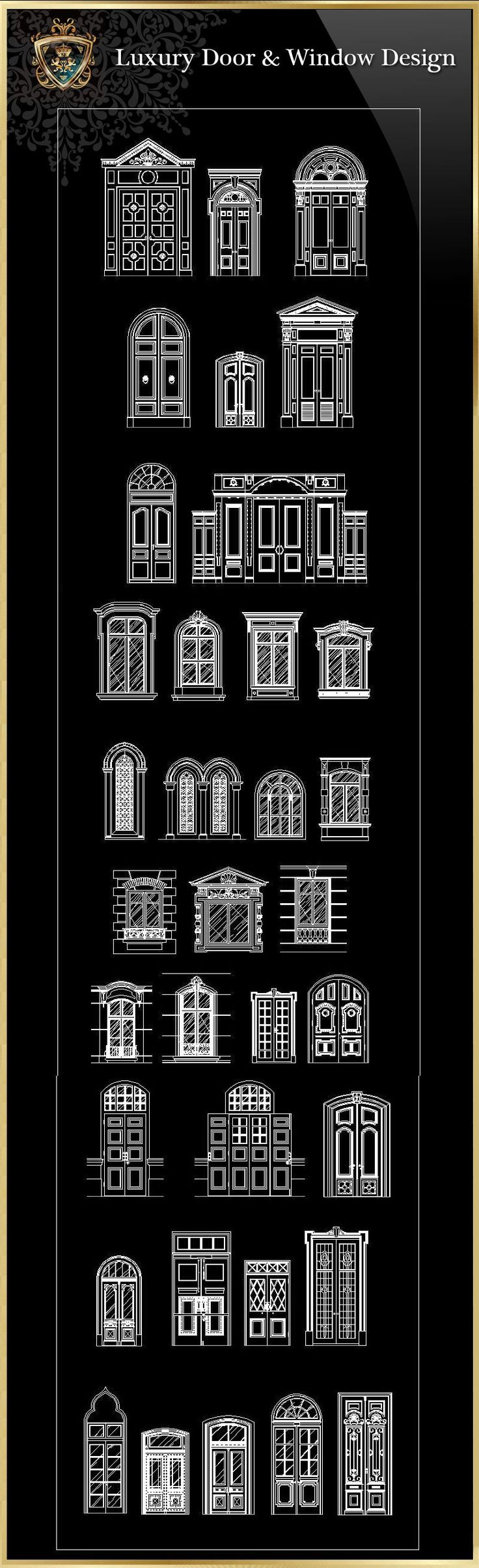 90 Types of Luxury Door & Window Design(Recommanded! Find this Pin and more  on Interior Design CAD Block free download,AutoCAD ...