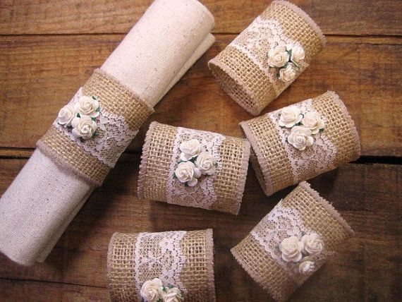 Burlap Napkin Rings Burlap/Lace  Rustic Set of 6