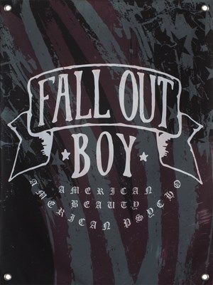 If you love the lads from Chicago Illinois, then this awesome textile flag is a must have for your bedroom wall! Featuring the artwork from their sixth studio album American Beauty/American Psycho, this Fall Out Boy printed flag has a distressed American flag creating the background. Perfect for any fan of the legendary American rock band FOB! Official merchandise.