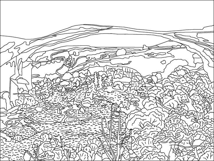 Landscapearchbw Landscapes Coloring Pages