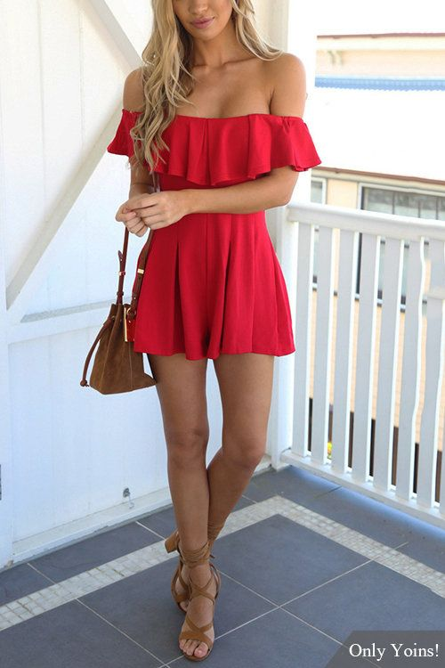 Red Off Shoulder Design Ruffle Details Playsuit -YOINS