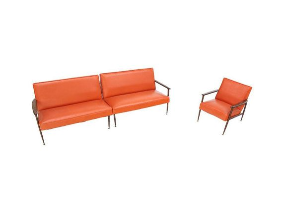 Mid Century Modern Sectional Vintage Orange Vinyl Sofa And Chair On Etsy 1 475 00