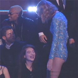 If Taylor Swift is at an awards show, I'm watching Taylor Swift at that awards show like a hawk. Her awkward, uninhibited dance moves delight me—she seriously does not care that live television captures her looking like a baby-deer middle-schooler on the reg. And more often than not, she spends the whole ceremony making mischief with another famous lady. (See: Swift and Lena Dunham at the 2013 Grammys, Swift and Selena Gomez at the 2013 VMAs.) At last night's VMAs, Swift and her BFF d...