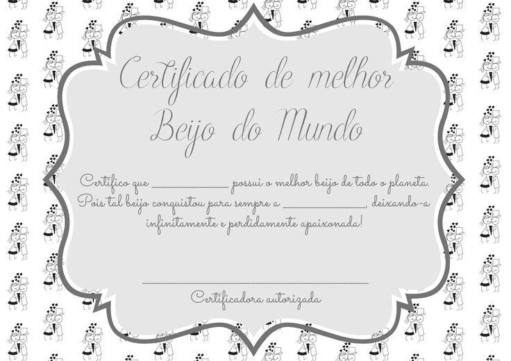 Certificado de Melhor Beijo [com versão editável] | Namorada Criativa - Por Chaiene Morais