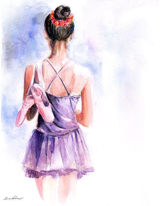 Ballerina Mädchen Aquarell Kunstdruck von sookimstudio auf Etsy, $22.00