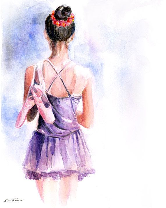 Watercolor painting Ballerina girl by sookimstudio on Etsy, $22.00