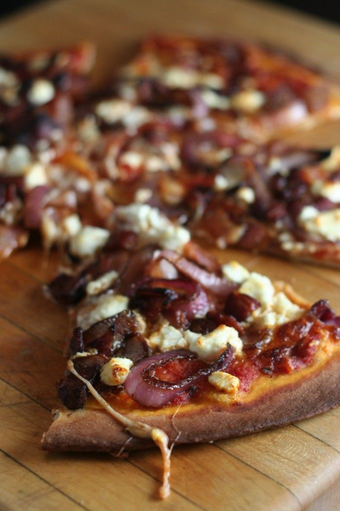 <3 Balsamic Onion, Bacon, and Goat Cheese pizza