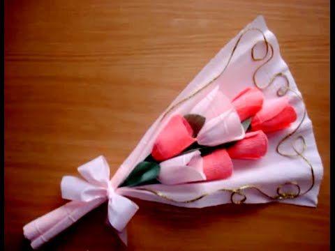 تغليف الهدايا تغليف الشوكولاته على شكل باقة ورد أو بوكية DIY Chocolates Bouquet - YouTube