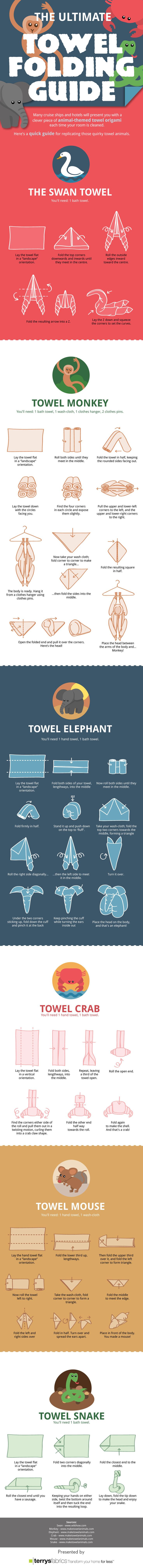 Infografía #CómoHacer 6 animales con toallas: 1.Cisne, 2.Mono, 3.Elefante, 4.Cangrejo, 5.Ratoncito, 6.Serpiente • The Ultimate Towel Folding Guide #DIY: 1.Swan, 2.Monkey, 3.Elephant, 4.Crab, 5.Mouse, 6.Snake | from Terry Fabrics