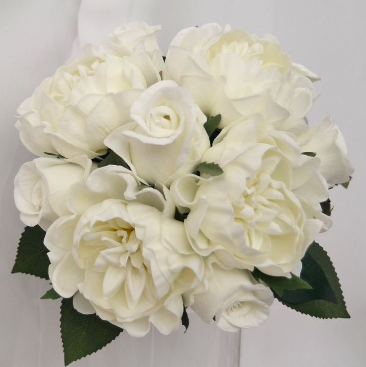 LATEX WEDDING BOUQUET WHITE PEONY ROSES PEONIES POSY FLOWERS ARTIFICIAL FLOWER