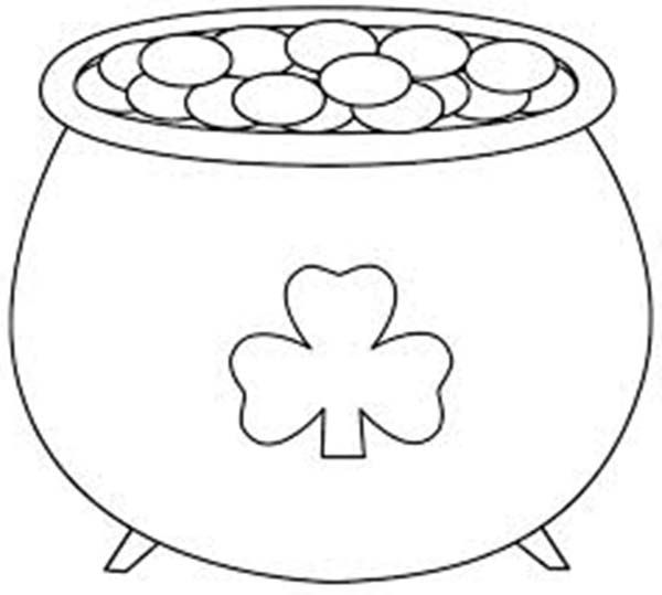 a big pot of gold on st patricks day coloring page