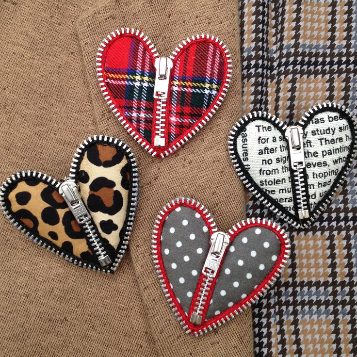 hand crafted zip heart brooches ... luv the fabric fills ...