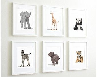 Woodland nursery art baby forest animals set of six by PaperLlamas