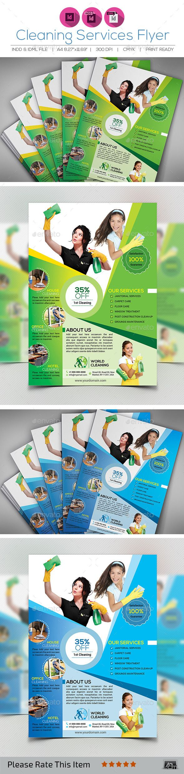 Cleaning Services Flyer Template InDesign INDD #design Download: http://graphicriver.net/item/cleaning-services-flyer/12992322?ref=ksioks