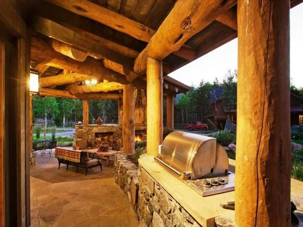 Rustic Outdoor Kitchen Charm BBQ