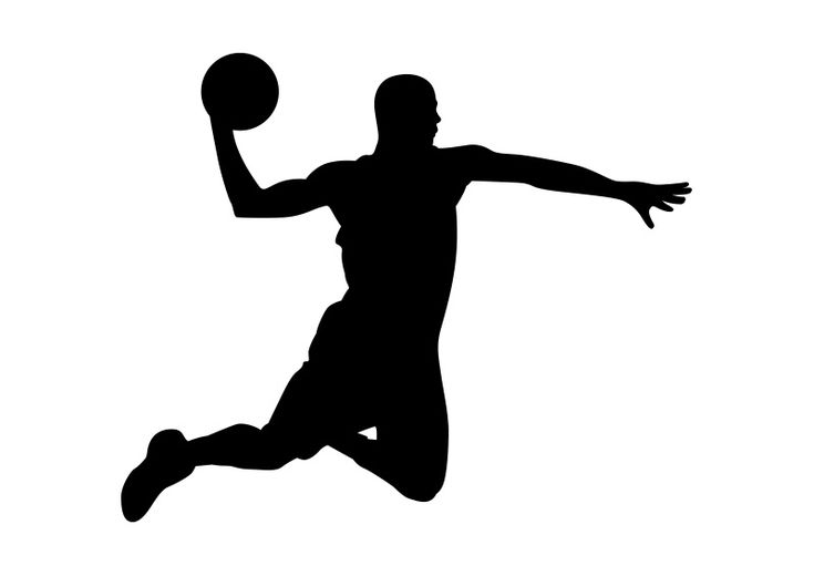 Cool Basketball Black And White: Basketball Player Black Silhouette On White Background