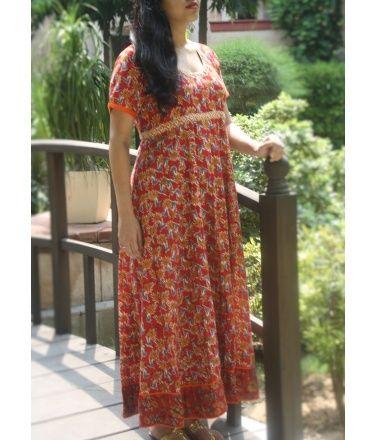 Red hand block printed long dress