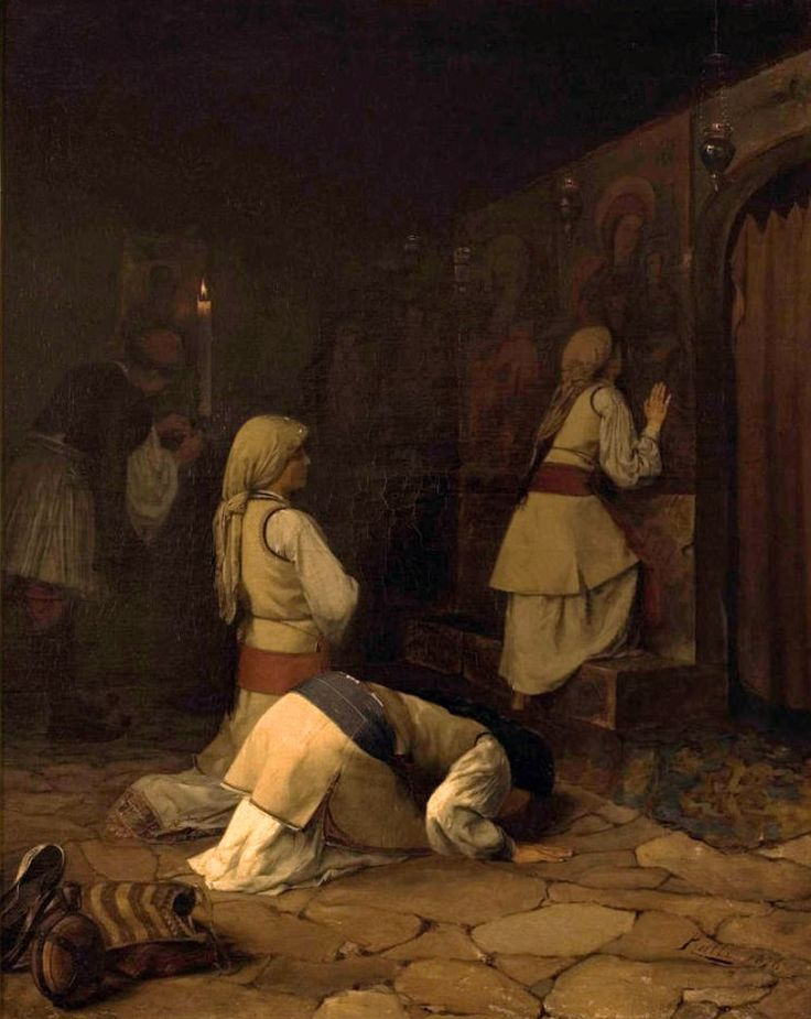Praying In Greek Church, Monparnas (Theodoros Ralli - 1876)