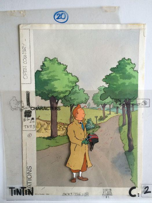 """Tintin - Gouache sur celluloïd + décor original pour le dessin animé """" Tintin et les Picaros """" - (1991)"""