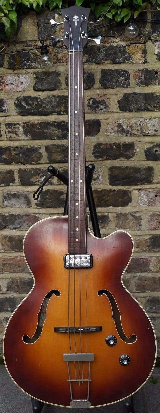 1960s Hofner Senator Electro Acoustic Sunburst Bass Guitar --- https://www.pinterest.com/lardyfatboy/