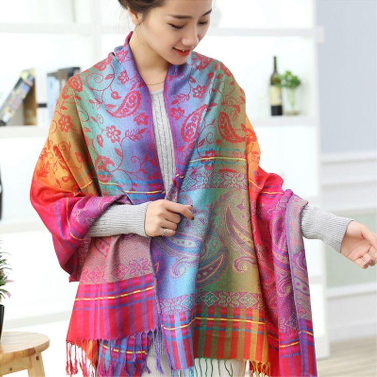 Bohemian Cotton Jacquard Tassels Long Female Muslim Hijab Poncho Primark Desigual Winter Scarf Women Shawls And Scarves