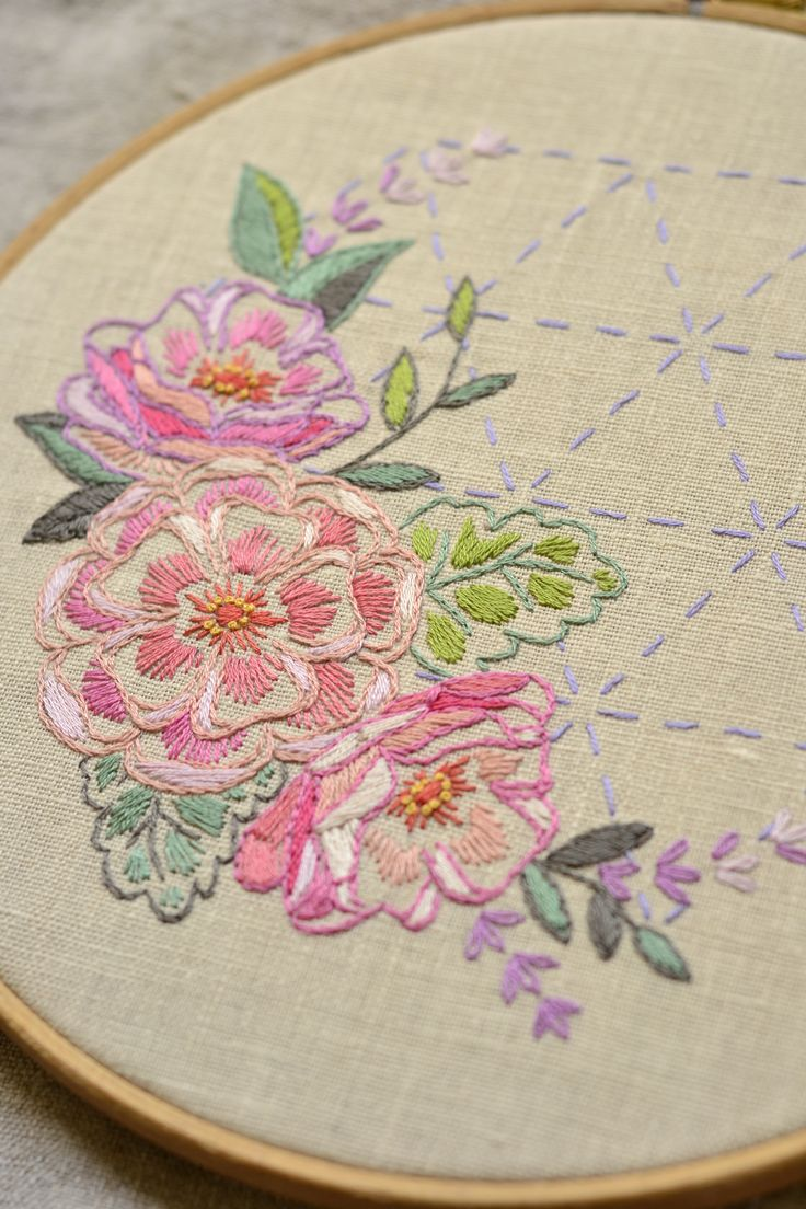 Flowers hand embroidery pattern, sashiko embroidery