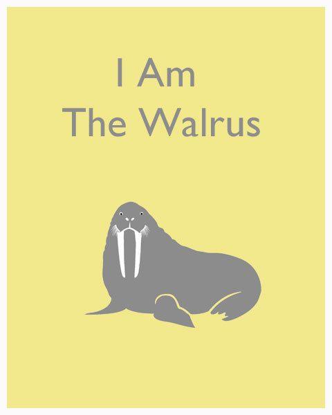 I Am the Walrus Beatles Modern Nursery Print 8x10 by 8747prints, $12.99